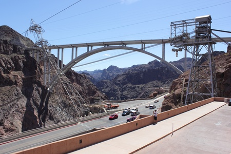 The famous Hoover Dam and bridge, between Arizona and Nevada - USA, april 2013