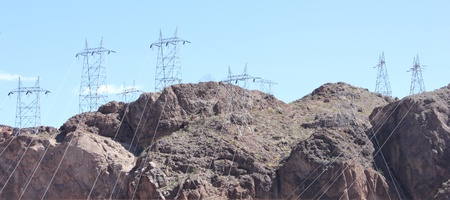 Electric pylons at the hoover dam between Arizona and Nevada - USA, april 2013 Stock Photo - 19184440