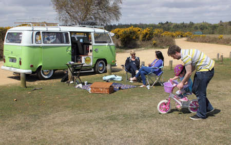 A retro vintage campervan at the New forest in hampshire,5th may 2013