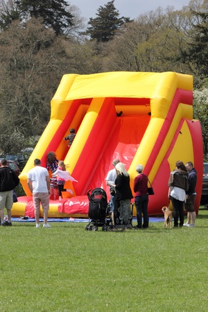 Bouncy slide for the children at the New forest spring fair,hampshire,england, 5th may 2013