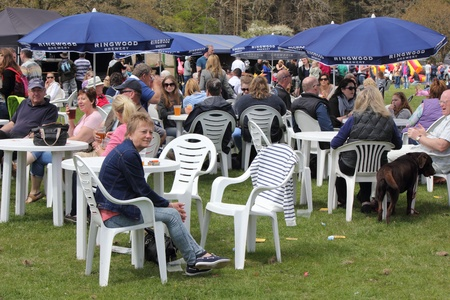People having refreshments at the New forest spring fair,hampshire,england, 5th may 2013