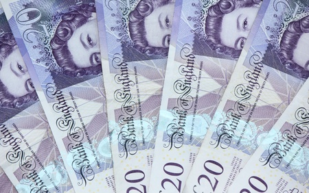 English £20 notes as a fan Stock Photo