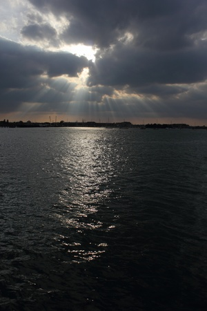 portsmouth: A sunset over water of Portsmouth harbour