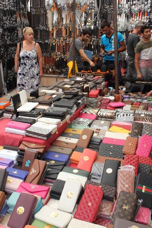 Leather goods for sale at a Turkish market bazaar in June 2013