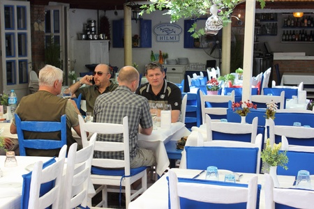 People enjoying a meal at a local resturant in Fethiye, Turkey,30th may 2013