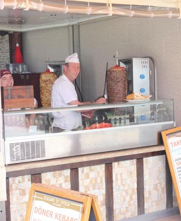Kebab seller in his shop in Oludeniz, Turkey,2nd June 2013,