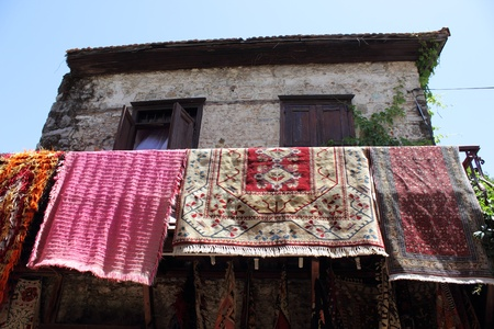Fabrics and textiles for sale at the local bazaar in Fethiye, Turkey ,29th May ,2013