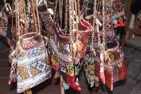 beachbag: A collection of Shoulder Bags for sale at a local bazaar market in Fethiye, Turkey, 29th May 2013