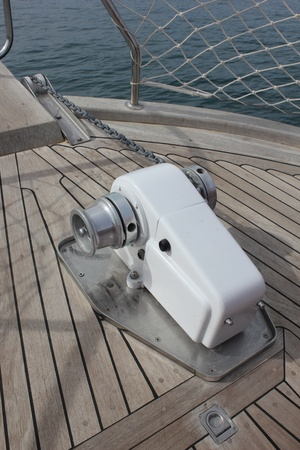 aboard: Electric anchor winch aboard a large motorboat