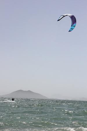Kitesurfing off the coast of Calis beach, Turkey, 30th May 2013