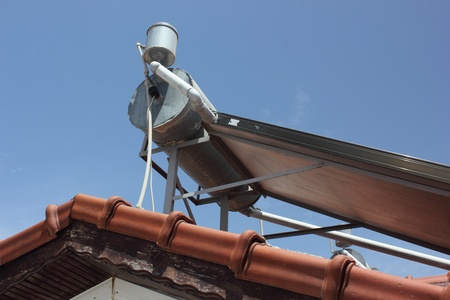 Solar water heaters being used on the roofs in Turkey photo