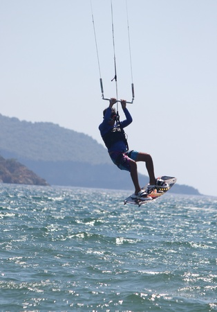 TURKEY,CALIS,JULY 2013 -Kite surfing is an extreme adventure sport described as a combination of wakeboarding windsurfing and paragliding