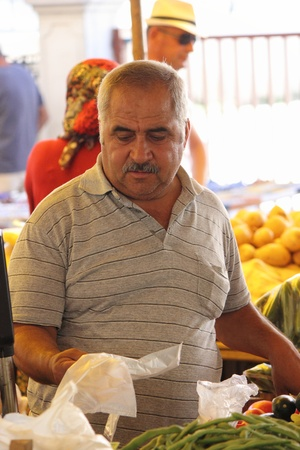 Fresh market produce of fruit and vegetables for sale at a local market in Turkey, July  2013
