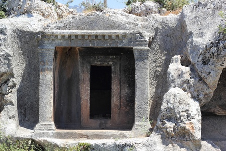 fethiye: The Lycian Tombs of Fethiye carved into the mountain rock 350 B C