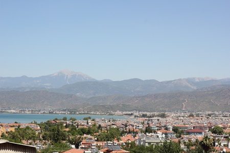 A scenic view Fethiye housing in Turkey with mountains Stock Photo - 21765662