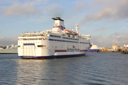 Passenger ferry arriving from france and entering portsmouth harbour  Portsmouth,uk,19th sept 2013