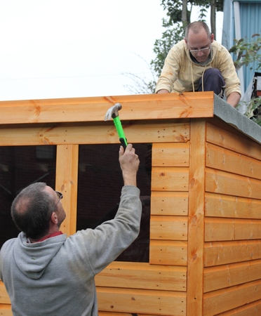 Building a wooden shed photo