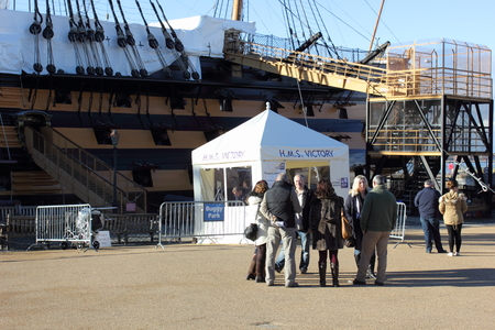 flagship: Tourists visiting Hms victory which was Admiral Lord Nelsons flagship