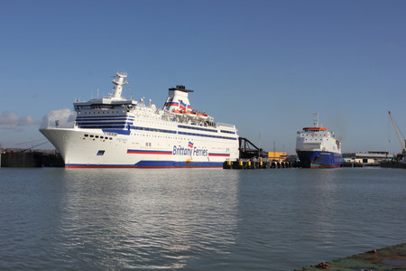 A Passenger and car ferry docked in portsmouth harbour after sailing from france 16th february 2014