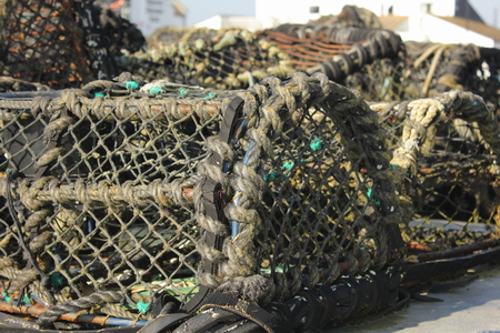 lobster pots: Lobster and crab pots on the quayside