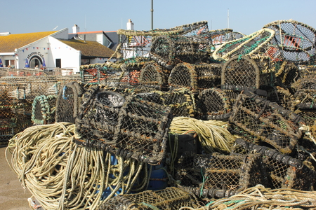 Lobster and crab pots on the quayside