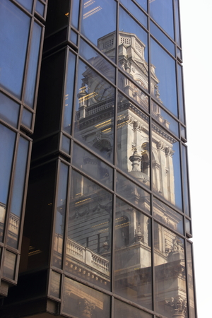 guildhall: Portsmouth guildhall reflected onto a modern building
