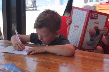 develope: A young boy sitting at a table writing in a notepad