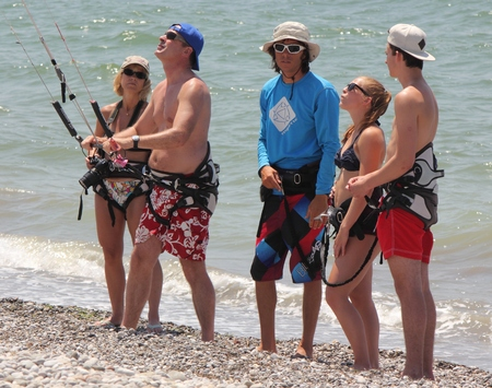TURKEY,CALIS,JULY 2014 -Having a lesson on how to kitesurf. Kite surfing is an extreme adventure sport described as a combination of wakeboarding windsurfing and paragliding