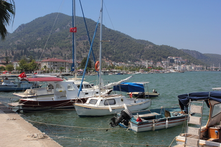 Fishing and pleasure boats moored in the port of Fethiye in Turkey, july , 2014