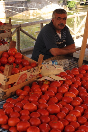 CALIS, TURKEY - 20TH JULY, 2014 A turkish man selling his fresh tomatoes at a local produce market in Calis, Turkey 20th july 2014