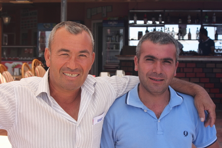 resturant: Turkish waiters outside the resturant at calis in turkey