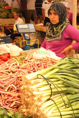 Fresh market produce of fruit and vegetables for sale at a local market in Turkey, July 2014