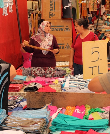 Fake goods for sale at a Turkish market bazaar in July 2014