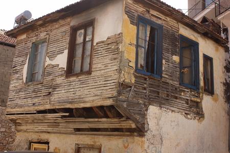 rickety: An old rundown building in fethiye, Turkey