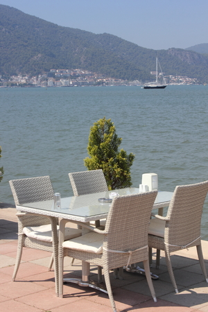 resturant: Seating at a resturant with views of fethiye in turkey