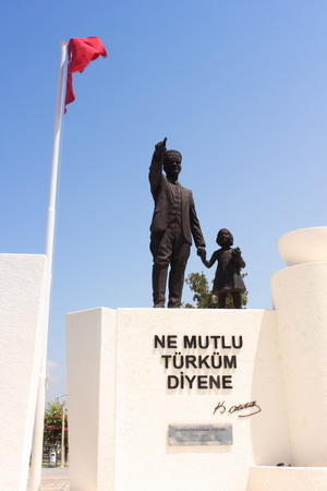 translated: Turkish monument at Fethiye in Turkey 2014 Ne mutlu Turkum diyene translated into english How happy is the one who says I am a Turk Mustafa Atatrk used this phrase in his speech for the 10th Anniversary of the Republic of Turkey 1933