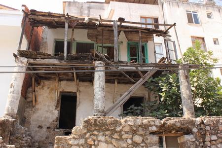 rickety: An old building in disrepair in Calis, Turkey 2014 Editorial