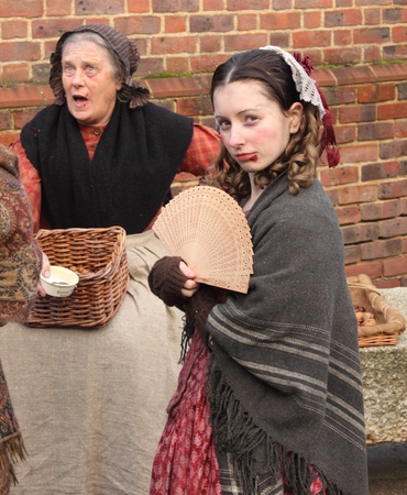 dockyard: Unknown actors playing the parts of victorians at the yearly Christmas victorian festival in portsmouth dockyard, 2014