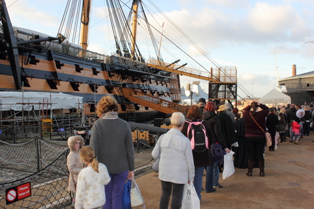 flagship: Tourists visiting Hms victory which was Admiral Lord Nelsons flagship in the heritage area in portsmouths dockyard, 30th november 2014