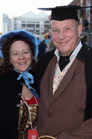 Unknown actors playing the parts of victorians at the yearly Christmas victorian festival in portsmouth dockyard, 2014