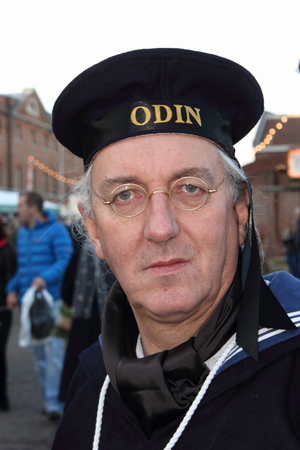 dockyard: Unknown actor playing the part of a victorian sailor at the yearly Christmas victorian festival in portsmouth dockyard, 2014