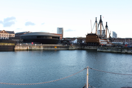 hms: The Mary rose and HMS Victory in the heritage area of portsmouth dockyard, 2014 Editorial