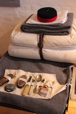 solders: One of the solders bedding ,grooming and eating utensils on show at Fort Nelson that was used during the protection of portsmouth during the world wars.Fort Nelson is a superbly restored 1860s Victorian fort overlooking Portsmouth Harbour.