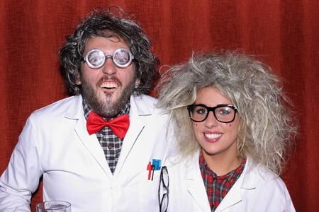 A young couple dressed as mad professors photo