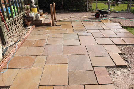 Charmant The Construction And Building Of A Natural Stone Patio In An.. Stock Photo,  Picture And Royalty Free Image. Image 38738557.
