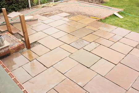 Patio Slabs: The Construction And Building Of A Natural Stone Patio In An  English Garden