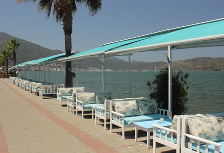 seating: Seating at a resturant with views of fethiye in turkey