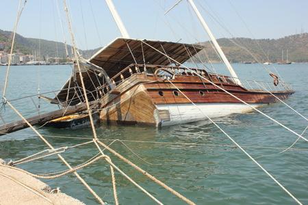 sunken: A sunken boat along the port of fethiye in turkey 2015