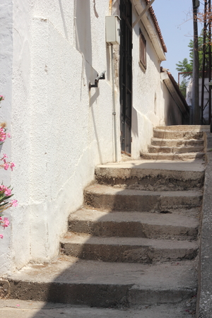 fethiye: Steps going up to a residence in Fethiye,Turkey,July 2015
