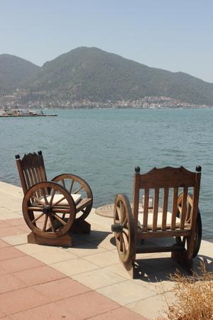 fethiye: Unusual seating along the port of fethiye in turkey, 2015 Stock Photo